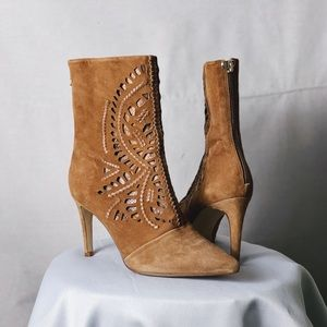 ANTONIO MELANI Suede Laser Cut Out Pointed Boots